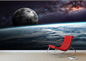 Earth Moon and Stars Wall Mural Wallpaper - Canvas Art Rocks - 2