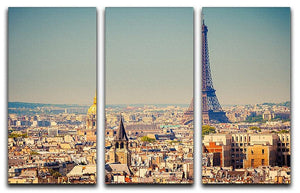 Eiffel Tower Sunny Day 3 Split Panel Canvas Print - Canvas Art Rocks - 1
