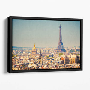 Eiffel Tower Sunny Day Floating Framed Canvas