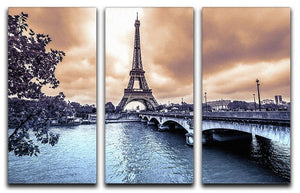 Eiffel Tower from Seine 3 Split Panel Canvas Print - Canvas Art Rocks - 1