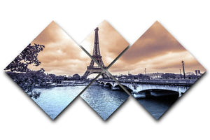 Eiffel Tower from Seine 4 Square Multi Panel Canvas  - Canvas Art Rocks - 1