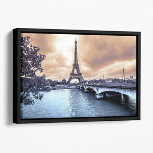 Eiffel Tower from Seine Floating Framed Canvas