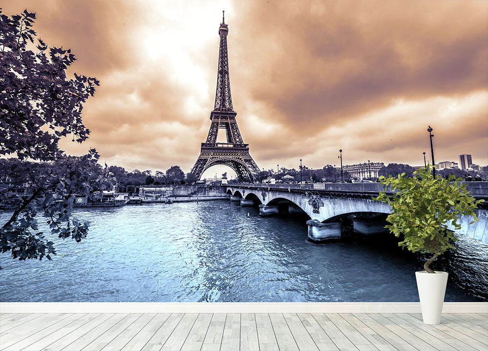 Eiffel Tower from Seine Wall Mural Wallpaper Canvas Art Rocks