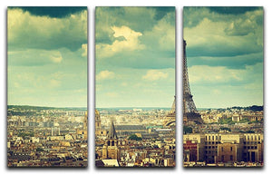 Eiffel tower Paris France 3 Split Panel Canvas Print - Canvas Art Rocks - 1