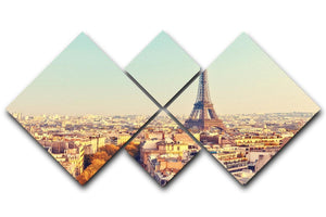 Eiffel tower at sunset 4 Square Multi Panel Canvas  - Canvas Art Rocks - 1