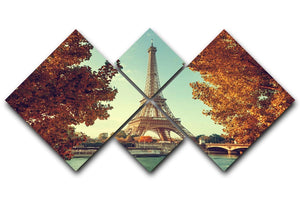 Eiffel tower in autumn time 4 Square Multi Panel Canvas  - Canvas Art Rocks - 1