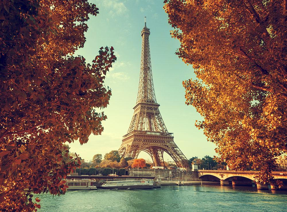 Eiffel Tower In Autumn Time Wall Mural Wallpaper
