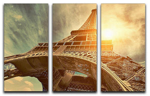 Eiffel tower under sun light 3 Split Panel Canvas Print - Canvas Art Rocks - 1