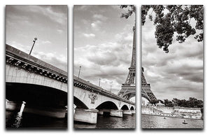 Eiffel tower view from Seine river 3 Split Panel Canvas Print - Canvas Art Rocks - 1