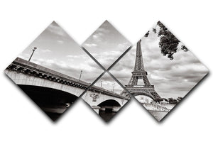 Eiffel tower view from Seine river 4 Square Multi Panel Canvas  - Canvas Art Rocks - 1