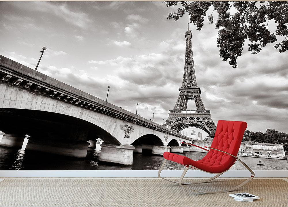 Eiffel tower view from Seine river Wall Mural Wallpaper Canvas Art