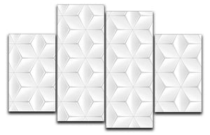 Elegant White Geometric Background 4 Split Panel Canvas - Canvas Art Rocks - 1