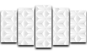 Elegant White Geometric Background 5 Split Panel Canvas - Canvas Art Rocks - 1