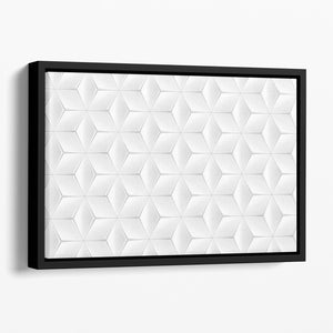 Elegant White Geometric Background Floating Framed Canvas - Canvas Art Rocks - 1