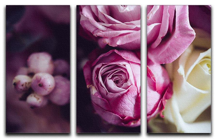 Elegant bouquet of pink and white roses 3 Split Panel Canvas Print