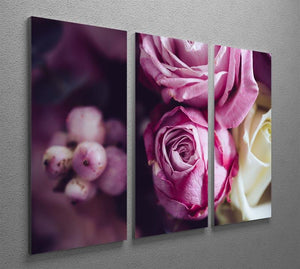 Elegant bouquet of pink and white roses 3 Split Panel Canvas Print - Canvas Art Rocks - 2