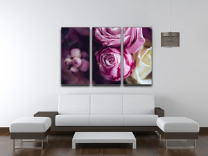 Elegant bouquet of pink and white roses 3 Split Panel Canvas Print - Canvas Art Rocks - 3