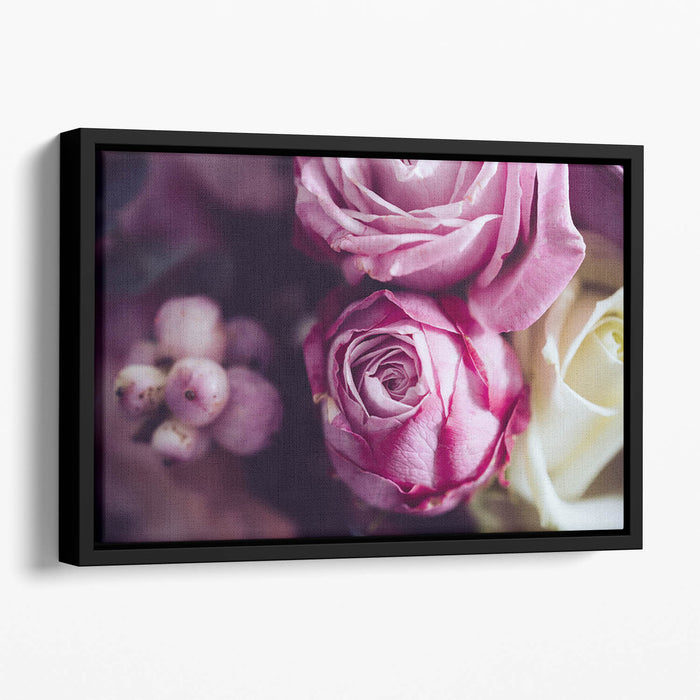 Elegant bouquet of pink and white roses Floating Framed Canvas