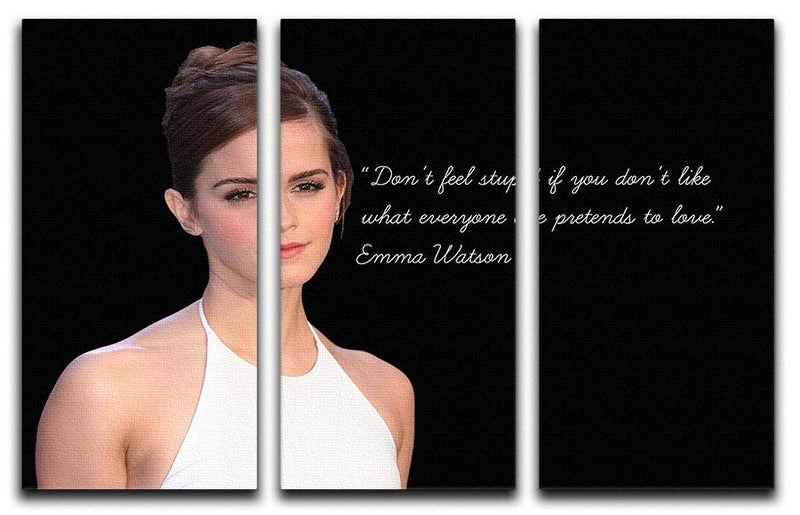 Emma Watson Dont Feel Stupid 3 Split Panel Canvas Print - Canvas Art Rocks - 1