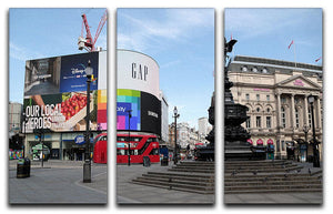 Empty Piccadilly Circus London under Lockdown 2020 3 Split Panel Canvas Print - Canvas Art Rocks - 1