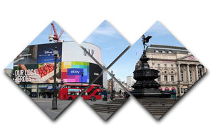 Empty Piccadilly Circus London under Lockdown 2020 4 Square Multi Panel Canvas - Canvas Art Rocks - 1
