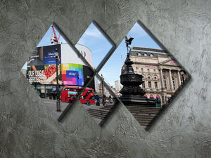 Empty Piccadilly Circus London under Lockdown 2020 4 Square Multi Panel Canvas - Canvas Art Rocks - 2