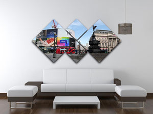 Empty Piccadilly Circus London under Lockdown 2020 4 Square Multi Panel Canvas - Canvas Art Rocks - 3