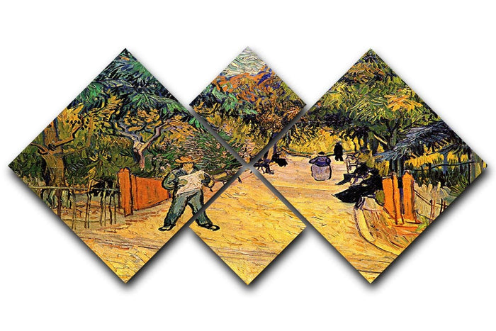 Entrance to the Public Park in Arles by Van Gogh 4 Square Multi Panel Canvas