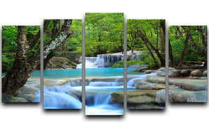 Erawan Waterfall 5 Split Panel Canvas  - Canvas Art Rocks - 1
