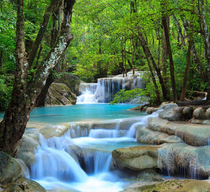Erawan Waterfall Wall Mural Wallpaper - Canvas Art Rocks - 1