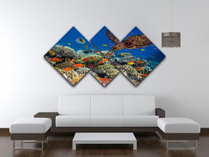 Eretmochelys imbricata floats under water 4 Square Multi Panel Canvas  - Canvas Art Rocks - 3