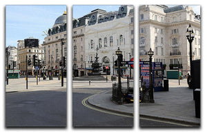 Eros Piccadilly Circus London under Lockdown 2020 3 Split Panel Canvas Print - Canvas Art Rocks - 1
