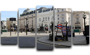 Eros Piccadilly Circus London under Lockdown 2020 5 Split Panel Canvas - Canvas Art Rocks - 1