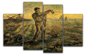 Evening The End of the Day after Millet by Van Gogh 4 Split Panel Canvas  - Canvas Art Rocks - 1