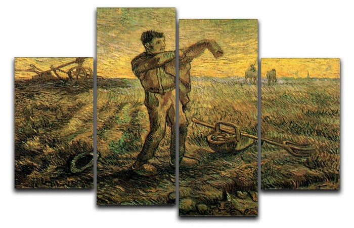 Evening The End of the Day after Millet by Van Gogh 4 Split Panel Canvas