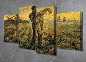 Evening The End of the Day after Millet by Van Gogh 4 Split Panel Canvas - Canvas Art Rocks - 2