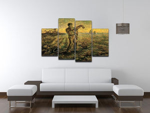 Evening The End of the Day after Millet by Van Gogh 4 Split Panel Canvas - Canvas Art Rocks - 3
