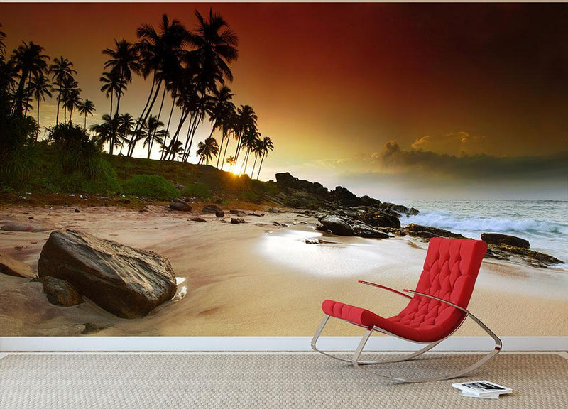 Extremely beautiful vivid sunrise Wall Mural Wallpaper - Canvas Art Rocks - 1