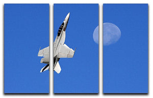 F-18 and the Moon 3 Split Panel Canvas Print - Canvas Art Rocks - 1