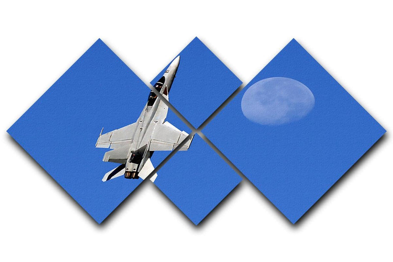 F-18 and the Moon 4 Square Multi Panel Canvas  - Canvas Art Rocks - 1
