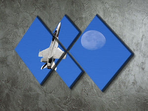 F-18 and the Moon 4 Square Multi Panel Canvas  - Canvas Art Rocks - 2