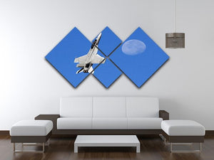F-18 and the Moon 4 Square Multi Panel Canvas  - Canvas Art Rocks - 3
