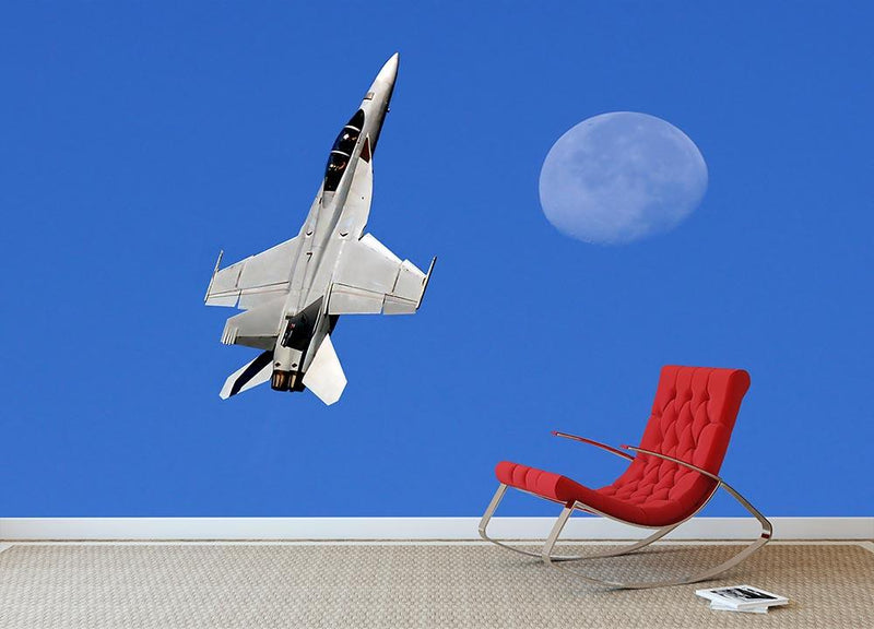 F-18 and the Moon Wall Mural Wallpaper - Canvas Art Rocks - 1