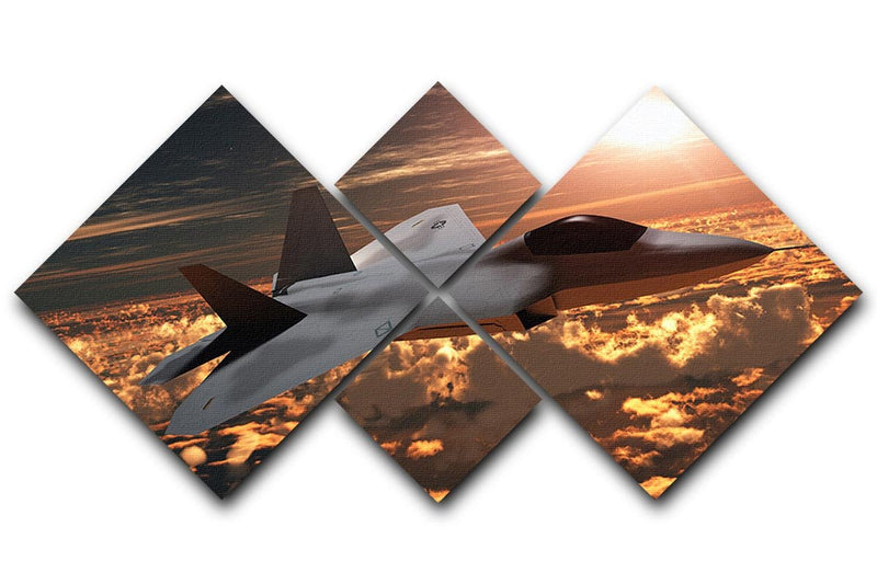 F22 Fighter Jet at Sunset 4 Square Multi Panel Canvas  - Canvas Art Rocks - 1