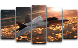 F22 Fighter Jet at Sunset 5 Split Panel Canvas  - Canvas Art Rocks - 1