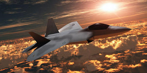 F22 Fighter Jet at Sunset Wall Mural Wallpaper - Canvas Art Rocks - 1