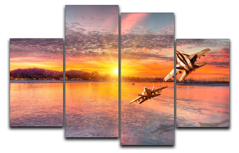 F 18 squadron over the sea 4 Split Panel Canvas  - Canvas Art Rocks - 1