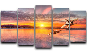 F 18 squadron over the sea 5 Split Panel Canvas  - Canvas Art Rocks - 1