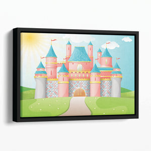 FairyTale castle illustration Floating Framed Canvas