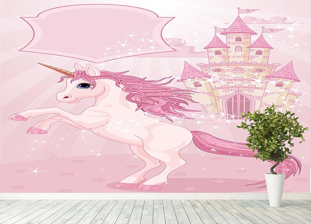 Fairy Tale Castle and Unicorn Wall Mural Wallpaper Canvas Art Rocks
